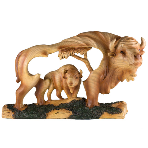 Buffalo Bison Faux Carved Wood Look Figurine 1