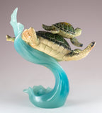 Green Sea Turtles Mother and Baby Riding Water Wave Figurine