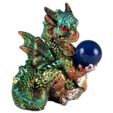 Green Mini Dragon With Marble Gem Figurine