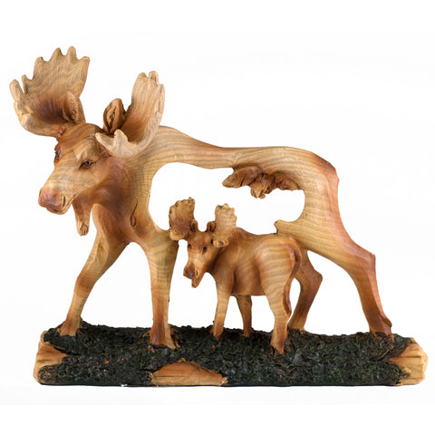 Moose Faux Carved Wood Look Figurine 4