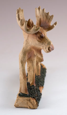 """Moose Faux Carved Wood Look Figurine 7/"""" Long Resin Statue New"""
