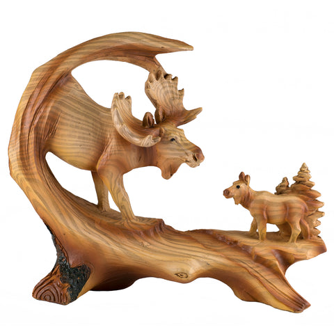 Moose Scene Faux Carved Wood Look Figurine