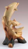 Two Dolphins Riding Wave Figurine Faux Wood Carved Look
