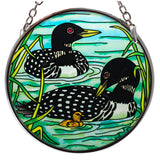 Loons With Chick Suncatcher Hand Painted Glass By AMIA 1