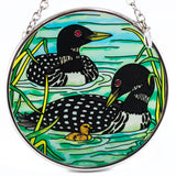 Loons With Chick Suncatcher Hand Painted Glass By AMIA 2