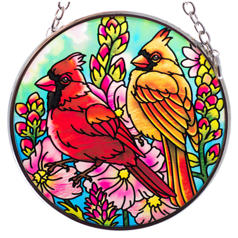 Cardinal Pair Bird Suncatcher Glass By AMIA