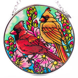 Cardinal Pair Bird Suncatcher Glass By AMIA 2