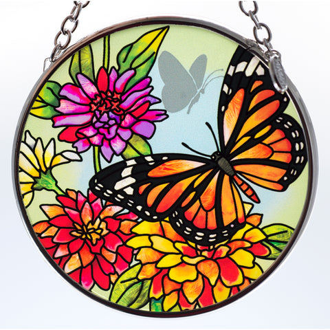 Butterfly Garden In Bloom Monarch Suncatcher Glass By AMIA