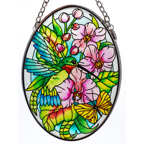 Hummingbird Orchard Suncatcher Glass By AMIA