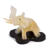 Carved Marble Stone White Elephant Figurine 1