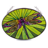 Dramatic Dragonfly Hand Painted Glass Suncatcher By AMIA