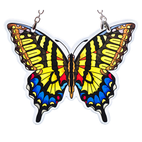 "Yellow Swallowtail Butterfly Suncatcher Hand Painted Glass By AMIA Studios 3.75"" x 4.75"""