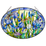 Iris With Dragonflies Suncatcher Glass By AMIA