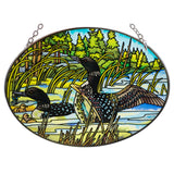 Loons Suncatcher Hand Painted Glass By AMIA Studios