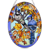 Blue Jays and Maple Leaves Bird Suncatcher Glass By AMIA
