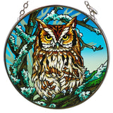 Owl Suncatcher Hand Painted Glass By AMIA
