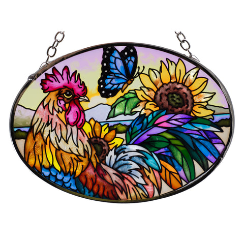 Morning Has Broken Rooster Chicken Glass Suncatcher AMIA