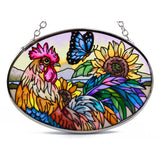 Morning Has Broken Rooster Chicken Glass Suncatcher AMIA 2