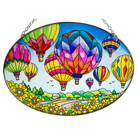 Up and Away Hot Air Balloons Suncatcher Glass By AMIA