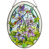 Columbine & Hummingbird Suncatcher Glass By AMIA