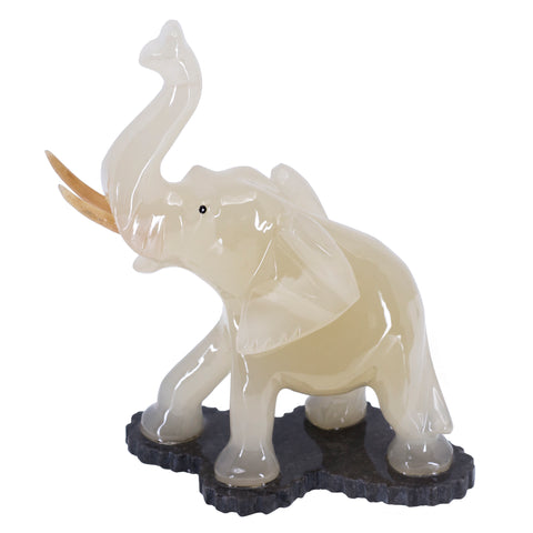 Carved Marble Stone White Elephant Figurine 3