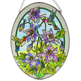 Columbine & Hummingbird Suncatcher Glass By AMIA 2