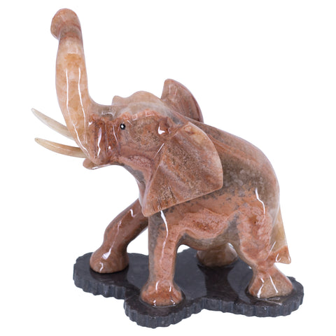 Carved Marble Stone Brown Elephant Figurine 5