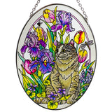 Spring Garden Cat Suncatcher Hand Painted Glass By AMIA