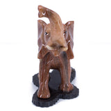 Carved Marble Stone Brown Elephant Figurine 6