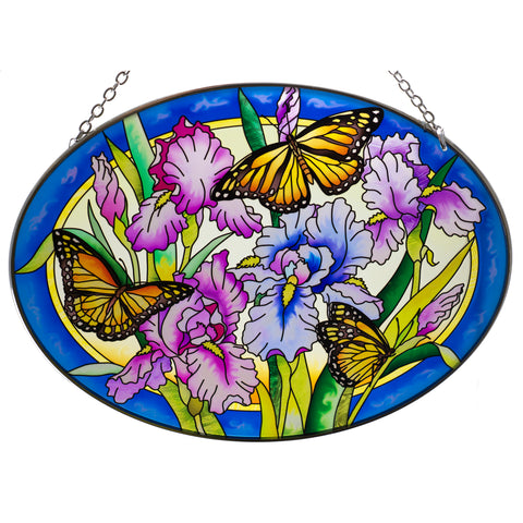 Iris & Butterfly Glass Suncatcher By AMIA Studios