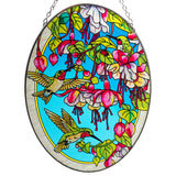 Hummingbirds Fuchsia Suncatcher Hand Painted Glass By AMIA