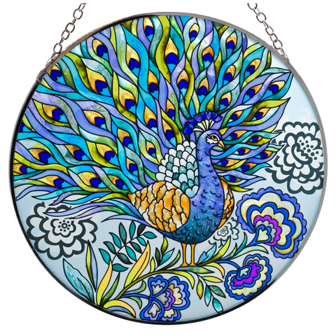 Peacock Suncatcher Glass By AMIA