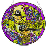 Chickadees Bird Suncatcher Glass By AMIA