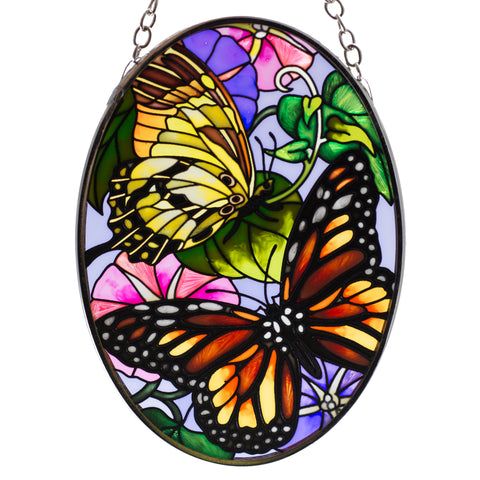 Unfurling Glory Butterflies Glass Suncatcher By AMIA