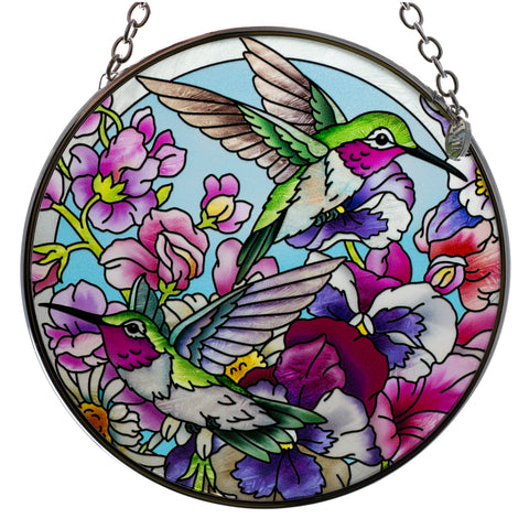 Hummingbirds Alight Bird Suncatcher Glass By AMIA