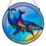 Whales Suncatcher Hand Painted Glass By AMIA