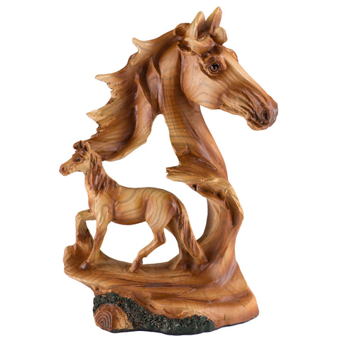 Horse Head With Smaller Horse Faux Carved Wood Look Figurine 1a