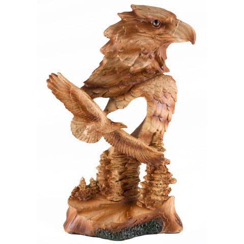 Eagle Bust With Smaller Flying Eagle Faux Carved Wood Look Figurine
