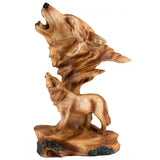 Wolf Head Bust Faux Carved Wood Look Figurine Statue