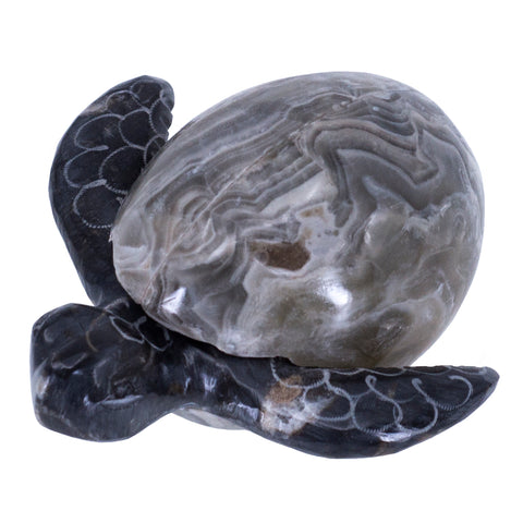 Carved Marble Stone Sea Turtle In Gray Egg Hatchling Figurine 1