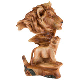Lion Head With Smaller Cub Faux Carved Wood Look Figurine