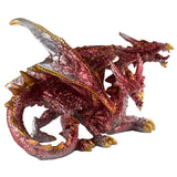 Red Two Headed Sparkly Dragon Figurine