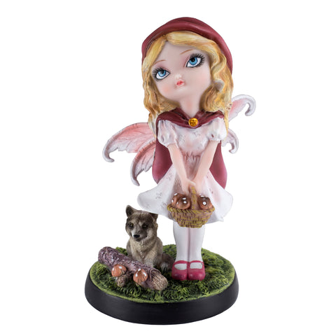 Fairy Tale Little Red Riding Hood Fairy With Wolf Figurine