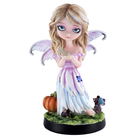 Cinderella Fairy holding glass slipper with pumpkin and mouse figurine