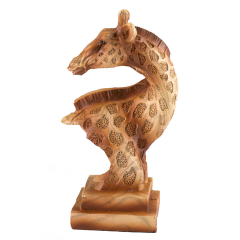 Small Giraffe Head Bust Faux Carved Wood Look Figurine