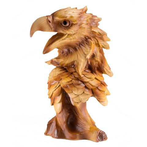 Eagle Head Bust Faux Carved Wood Look Figurine