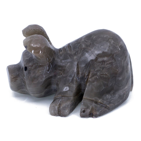 Carved Marble Stone Gray Laying Pig Figurine 1