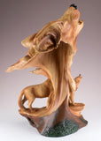 Wolf Head Bust With 2 Wolves Faux Carved Wood Look Figurine