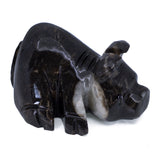 Carved Marble Stone Black Laying Pig Figurine 2