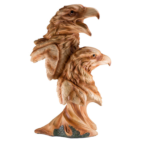 Two Eagle Heads Bust Faux Carved Wood Look Figurine